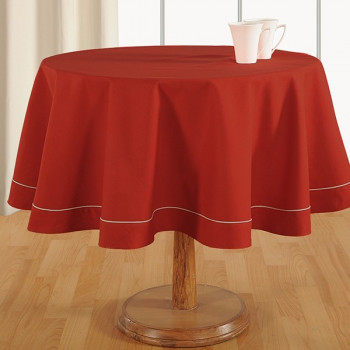 Christmas Red Plain Round Table Linen: 772