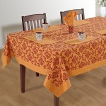 Coral Red Printed Rectangular Table - 1410