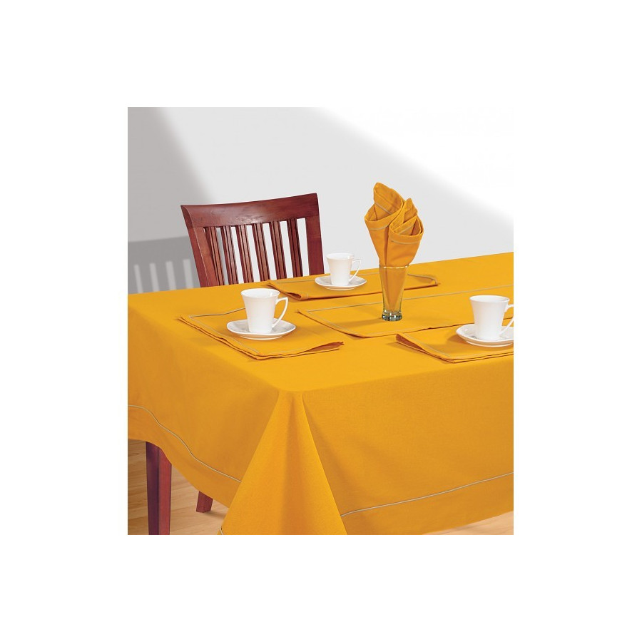 Mustard Rectangle Table Cloth- Amber Yellow