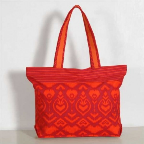 Apricot Motif Mosaic Cotton Shopping Bag- 2522