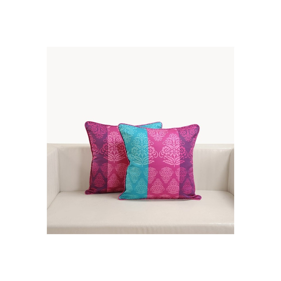 Tricolor Damask Printed Cushion Cover – 1301