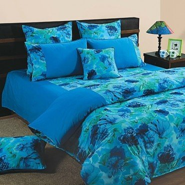 Blue Flowers duvet covers, comforters and quilts Shades of Paradise- 6715