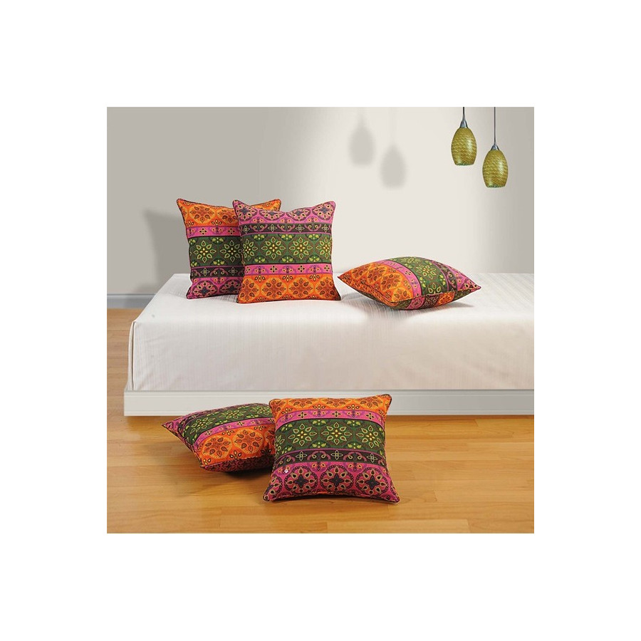 Buy Ethnic Ivy Cushion Covers line 2 & 5 Pieces