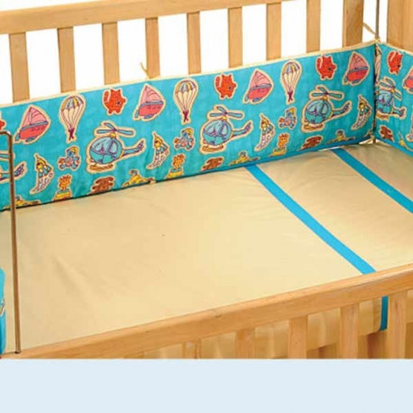 Turquoise Helicopter Cot Bumper– 1012