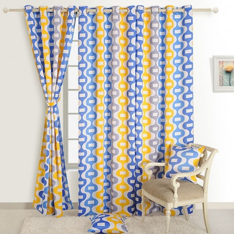 Yellow Blue Sigma Curtains- 1268