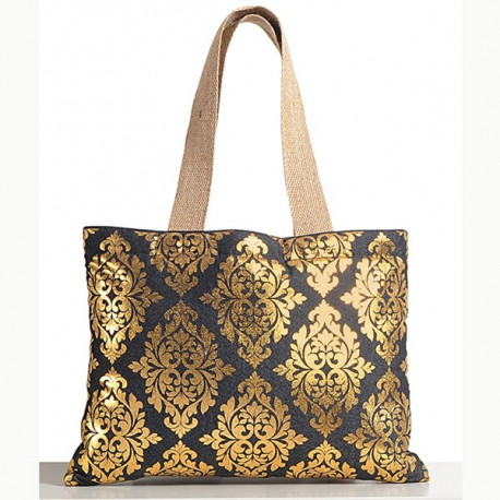 Black Gold Denim Jute Bags —Std-755