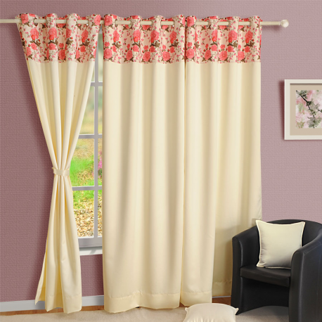Ivory Rose Blackout Curtains – 2022 Printed Ivory