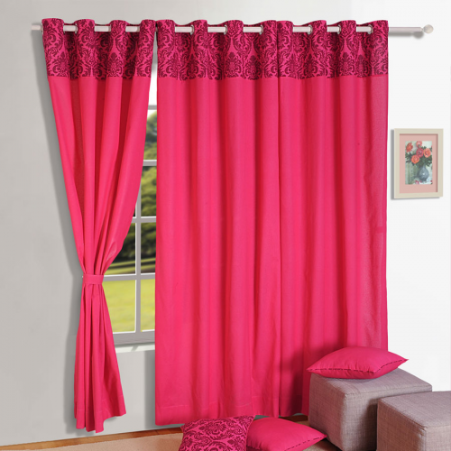 Pink Solid Bloom Curtains-9008