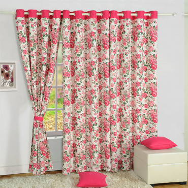 pink delight printed curtain
