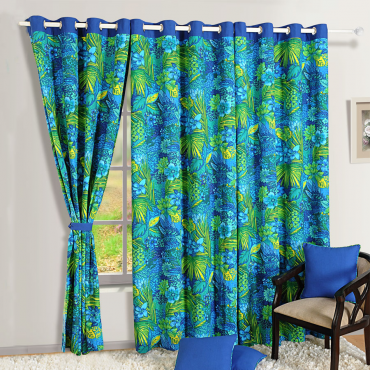 blue forest printed curtains
