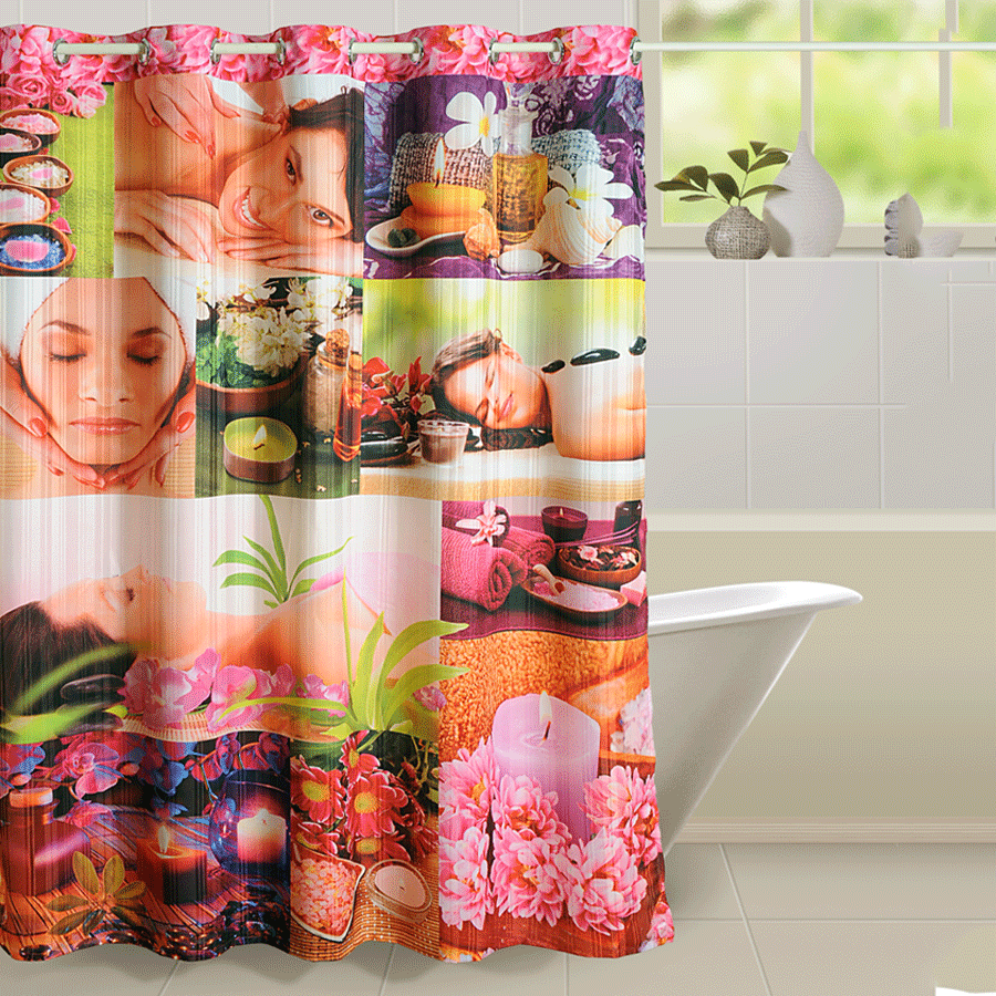 Pink Spa Shower Curtains- 5603