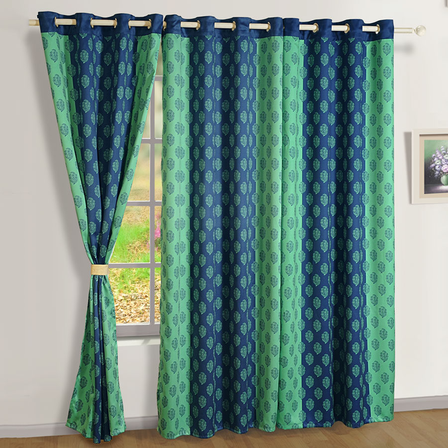 green blue printed sigma curtains modern polyester curtains online swayam india. Black Bedroom Furniture Sets. Home Design Ideas