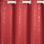 Deep Red Jacquard Blackout Curtains – 2055