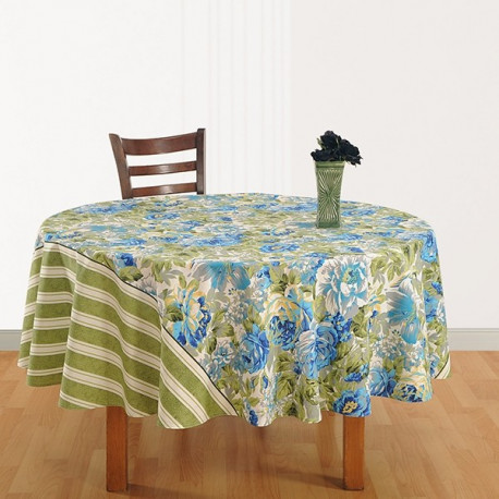 Roses & Stripes Round Table Cover- 1313