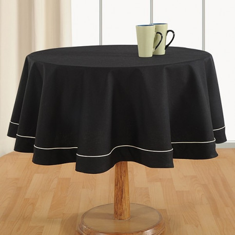 Beauteous Black Plain Round Table Linen: 771