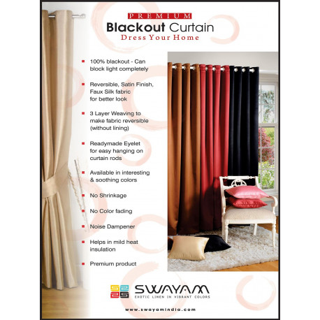 Raw Umber Black Jacquard Blackout Curtains – 2053