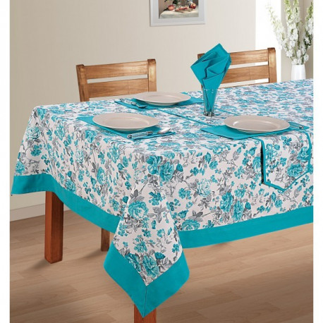 Turquoise Printed Rectangular Table Linen-2711