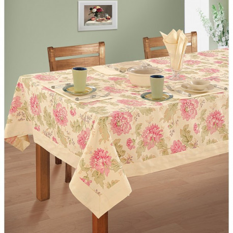 Peony Printed Rectangular Table Linen- 3612