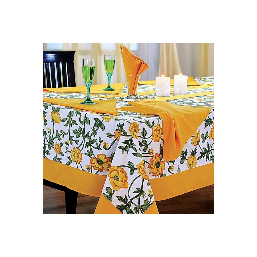 Yellow Printed Rectangular Table Linen-3701