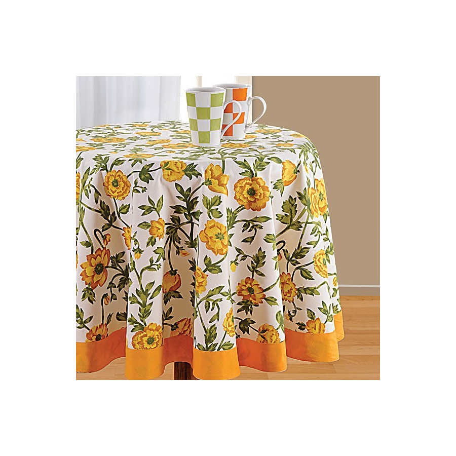 Yellow Printed Round Table Linen-3701