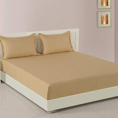 Beige Basics Fitted Bed Sheet, Sonata Classic Coral-Beige Basics