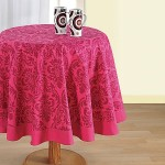 Magenta Printed Round Table Linen- 9008