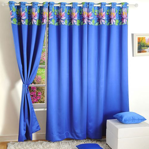 Printed Blue Blackout Curtains - 2012