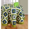 Green Printed Round Table Linen-1408