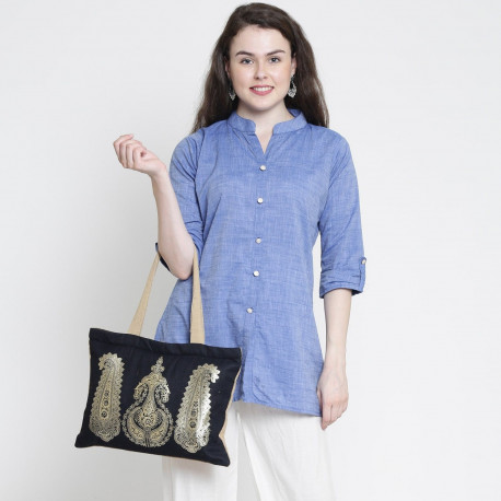 Traditional Patch Denim Jute Bags-STD-752