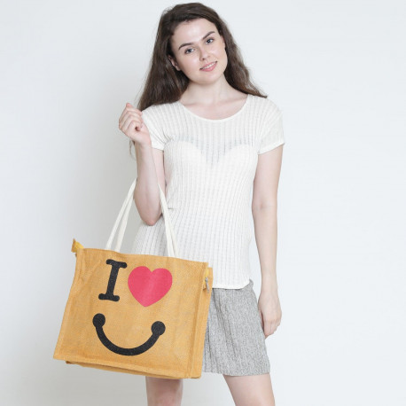 Orange Love Zora Jute Shopping Bag- 601