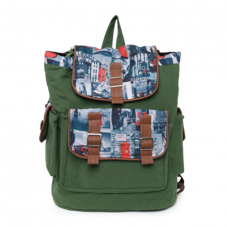 Swayam Canvas Cotton Back Pack - Forest Green