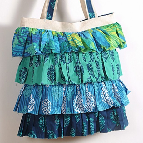Blue Green Frilly Bag- 732