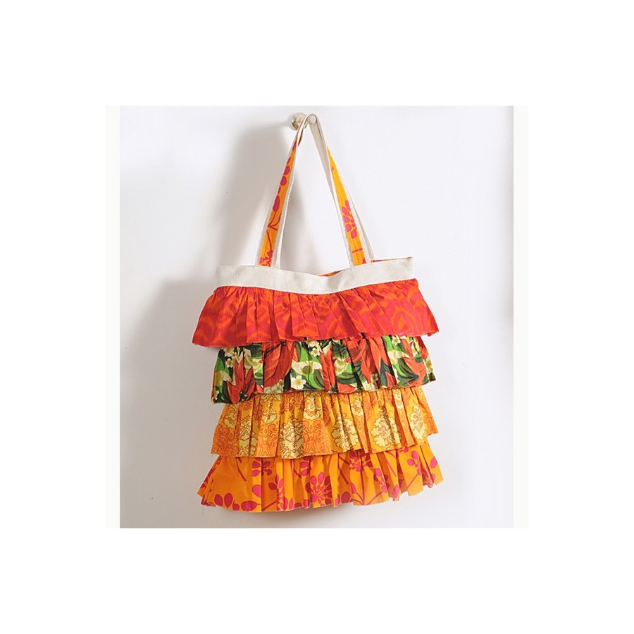 Orange Floral Frilly Bag- 733