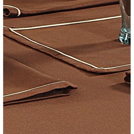 Mocha Plain Rectangular Table Linen- Cinnamon Brown