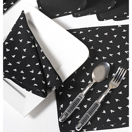 White Feather Dining Table Mat & Napkin 6 Seater Set-2302