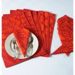 Orange Smize Dining Table Mat And Napkin 6 Seater Set-2522