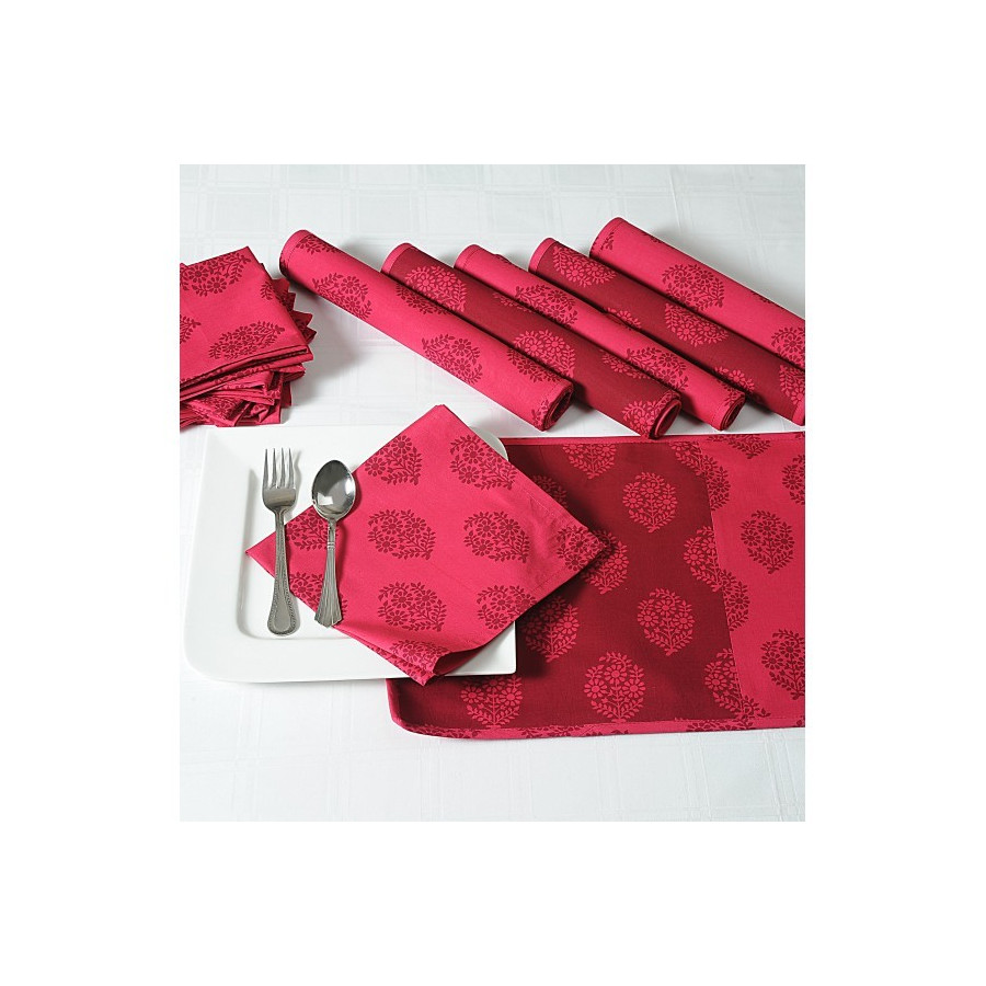 Maroon Stencil Dining Table Mat And Napkin 6 Seater Set-3008