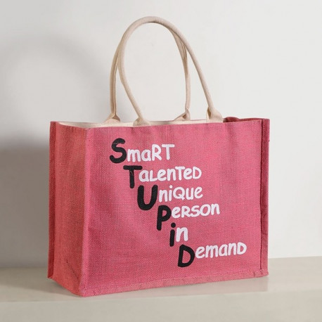 Pink Jute Shopping Bag- JSB01- 608