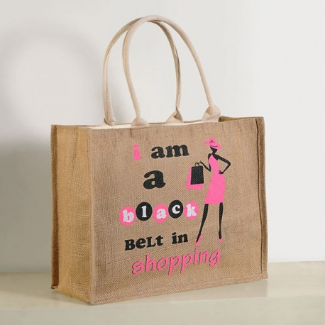 Black Pink Jute Shopping Bags- 609