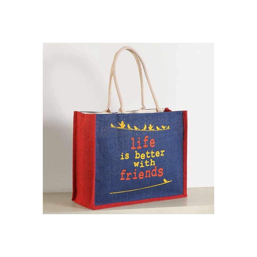 Red Blue Jute Shopping Bags- 610