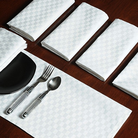 Dinner Napkins Sets – White Check DN