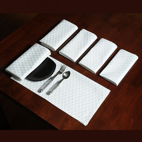 Superfine Dinner Napkins Sets – White Check DN
