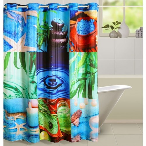 Blue Spa Shower Curtains- 5604