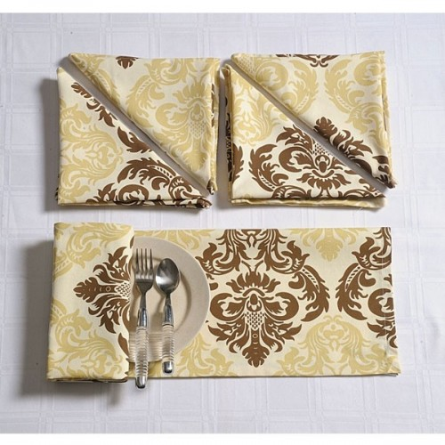 Beige Motif Dinner Napkins Set- 1401