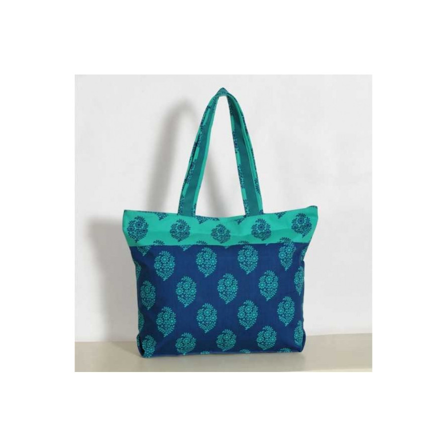 Turquoise Floral Mosaic Cotton Shopping Bag- 2008