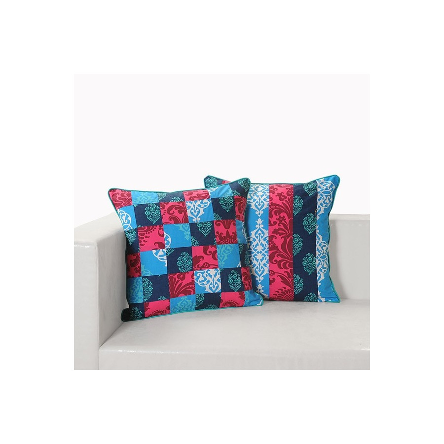 Blue Pink Patchwork Cushion Covers- Appl-12003