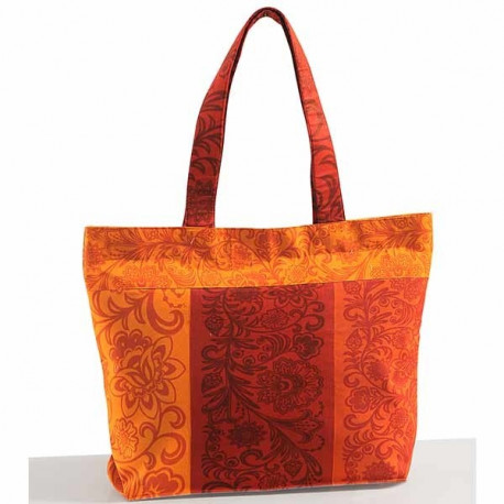 Orange Splash Mosaic Cotton Shopping Bag- 1873