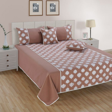 Swayam Brown & White Purity bed cover set-10502