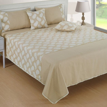 Swayam Kingly Class Beige & White bed cover set-10505