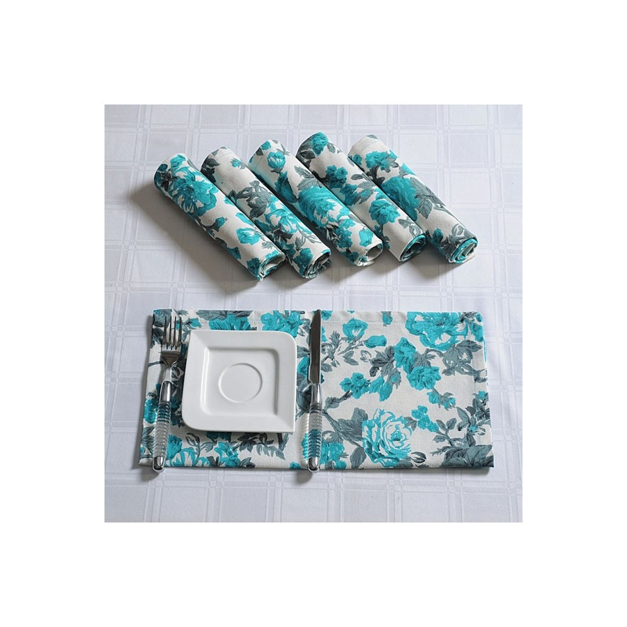 Blue Rose Dinner Napkins Set- 2711